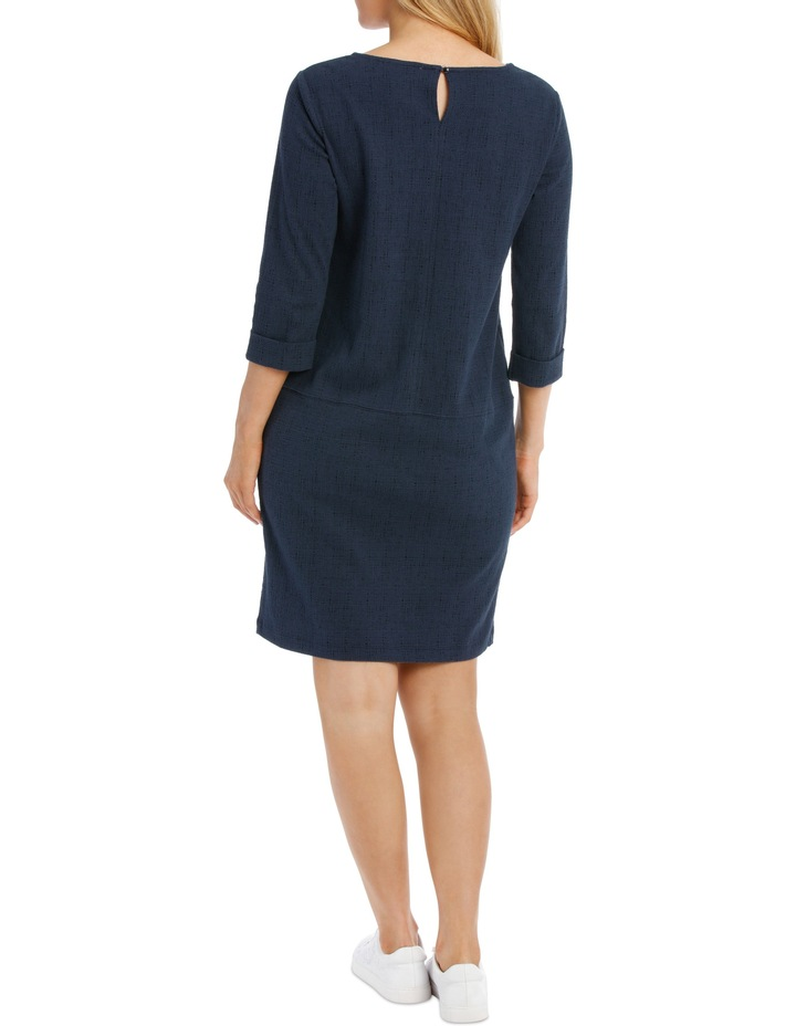 3/4 Slv Textured Knit Dress With Pockets-Blues image 3