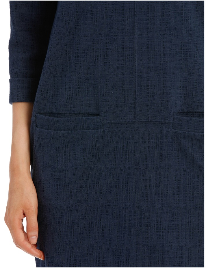 3/4 Slv Textured Knit Dress With Pockets-Blues image 4