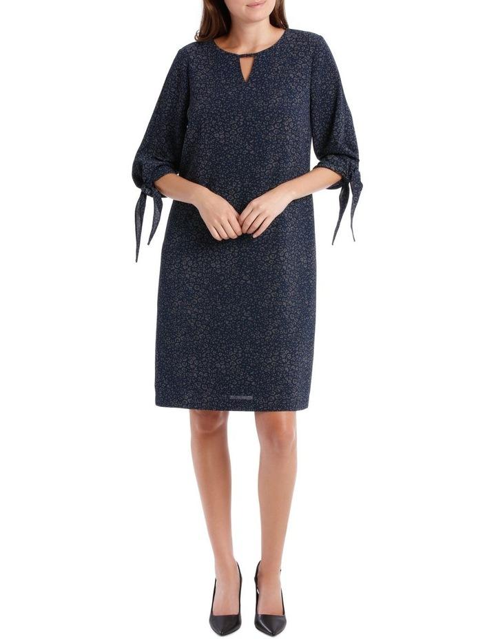 Woven Keyhole Neck Tie 3/4 Sleeve Dress image 1