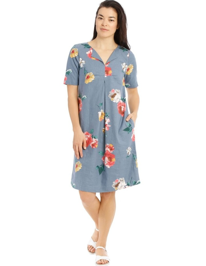 Linen Blend Short Sleeve Dress With C Front Tuck & Dart image 1