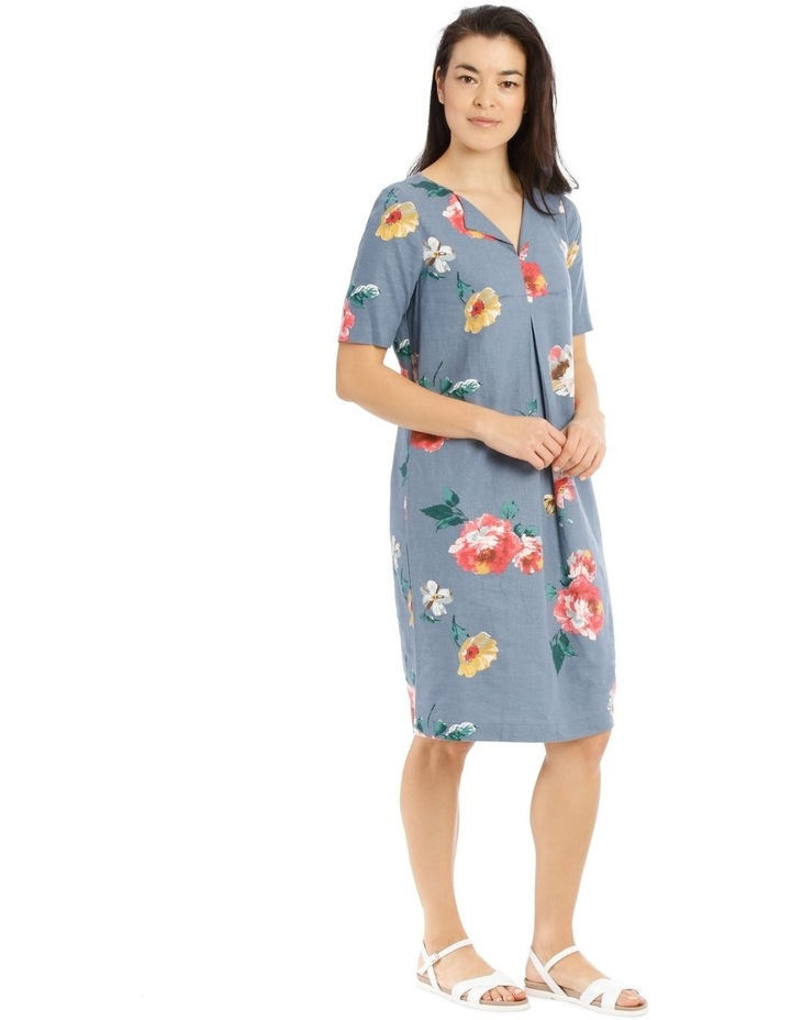 Linen Blend Short Sleeve Dress With C Front Tuck & Dart image 2