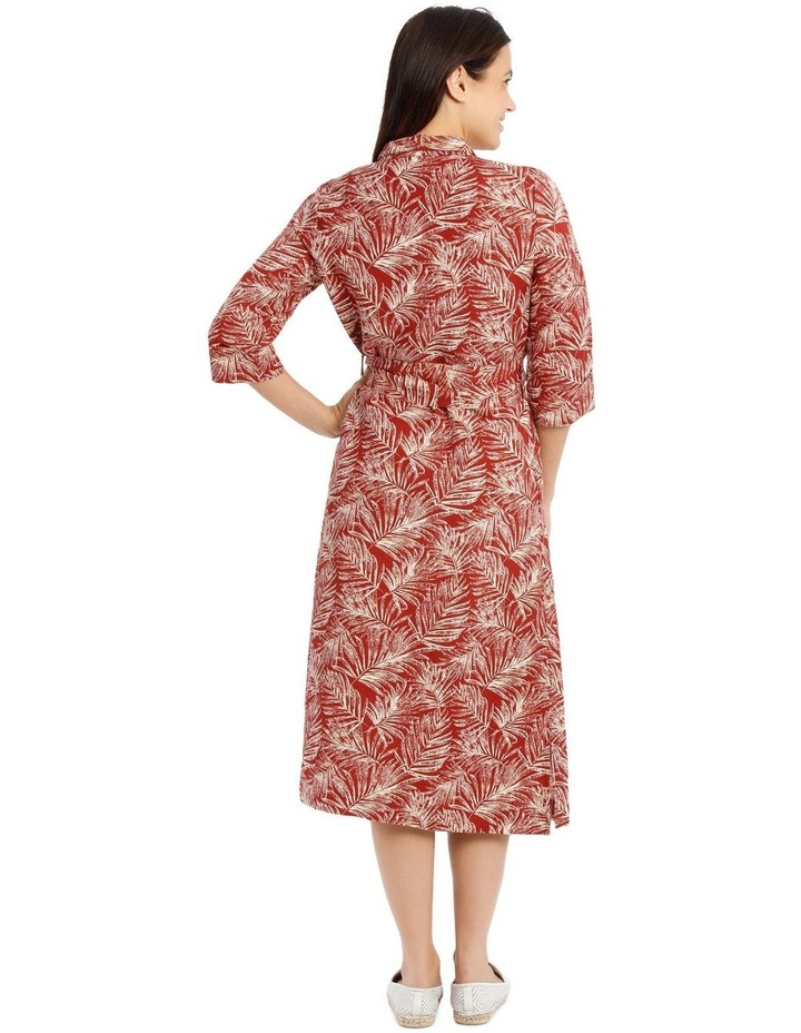 Shirt Dress With Tie Waist And Elbow Length Sleeves image 3