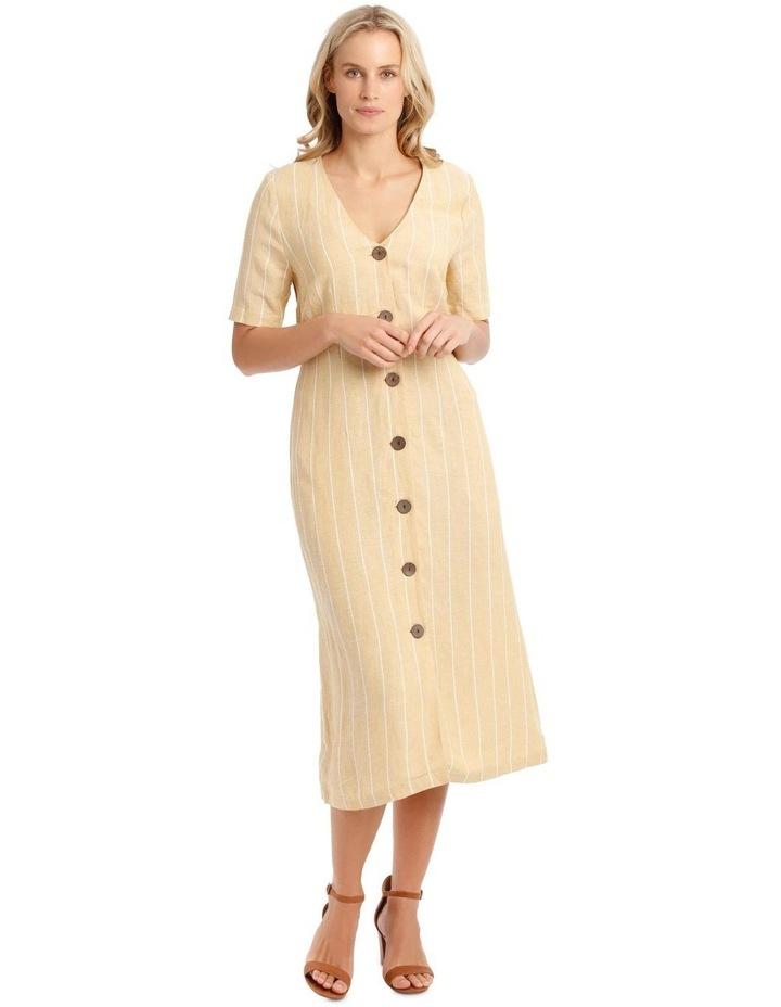 V-Neck Button Front, Tie Back Dress image 1