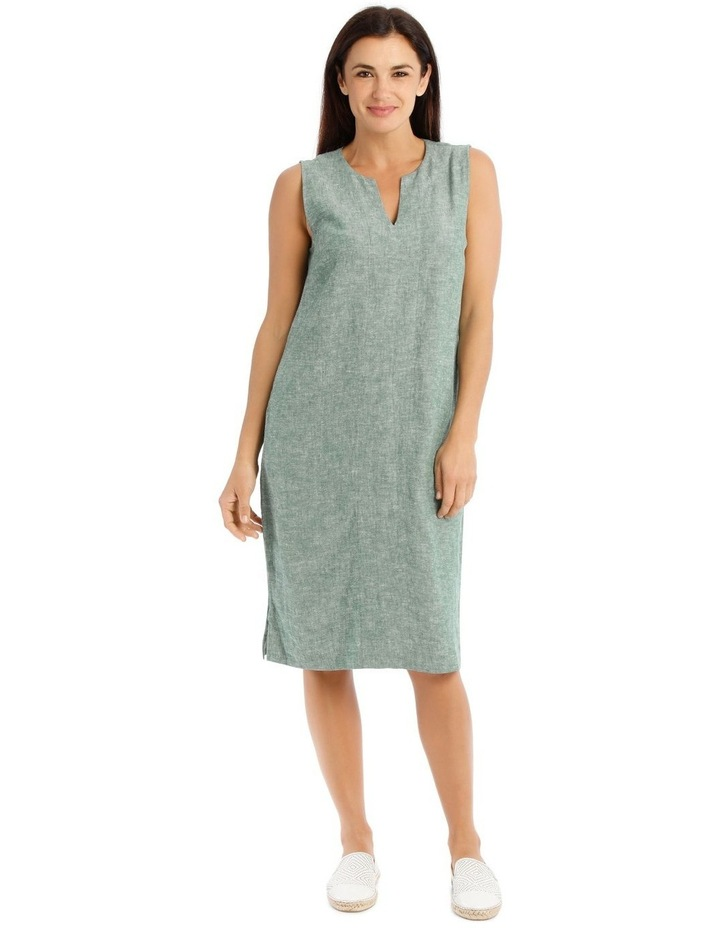 Sleeveless Seam Front Dress With Side Splits-Green Cross Dye image 1