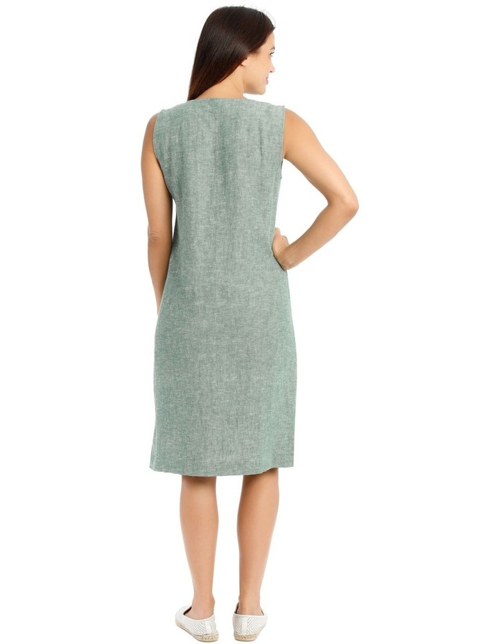 Sleeveless Seam Front Dress With Side Splits-Green Cross Dye image 3