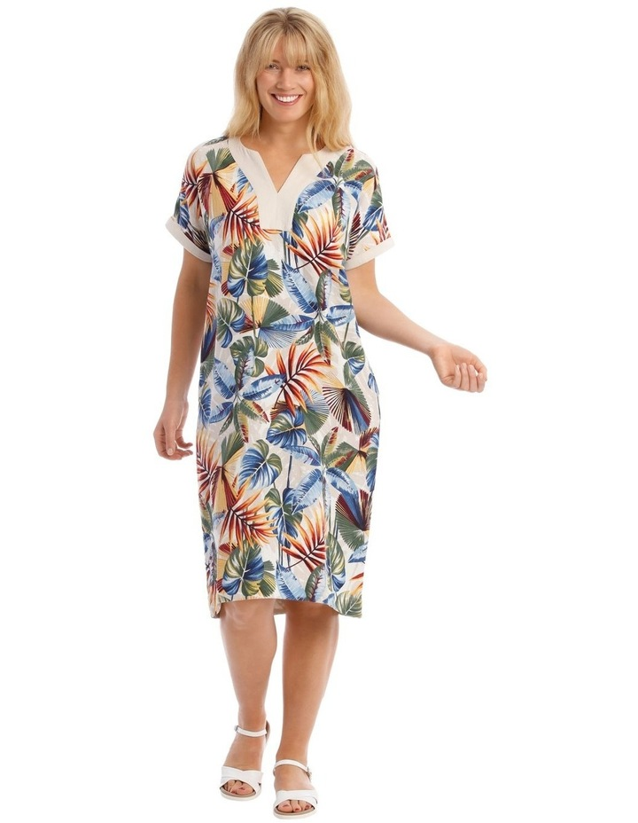 Extended Sleeve Dress With Contrast Trim image 1
