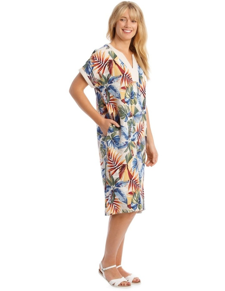 Extended Sleeve Dress With Contrast Trim image 2
