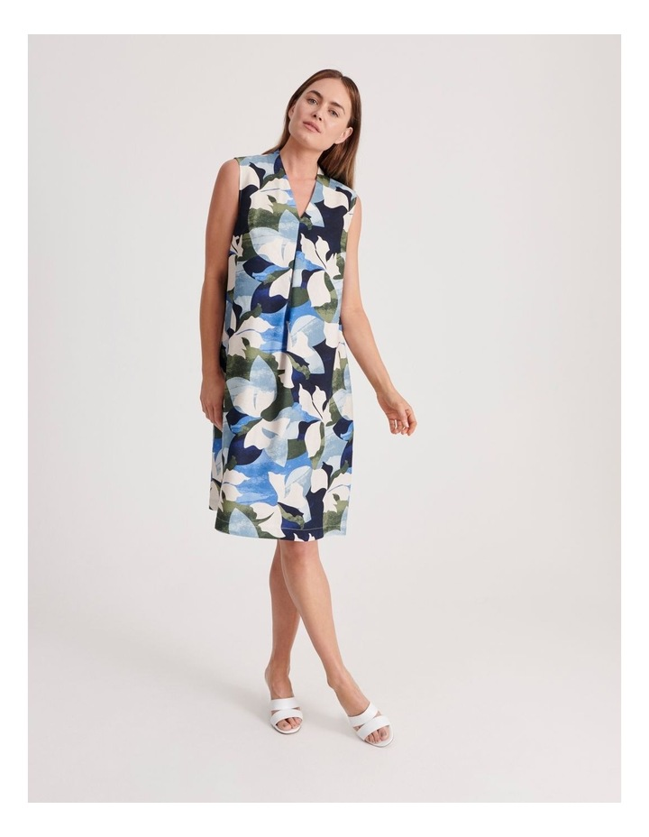 High V Neck Sleeveless Dress With Front Pleat image 1