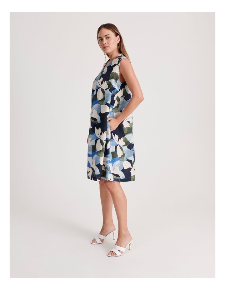 High V Neck Sleeveless Dress With Front Pleat image 2