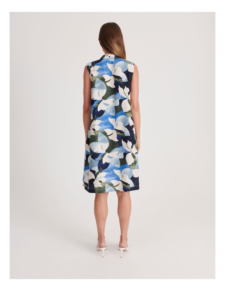 High V Neck Sleeveless Dress With Front Pleat image 3