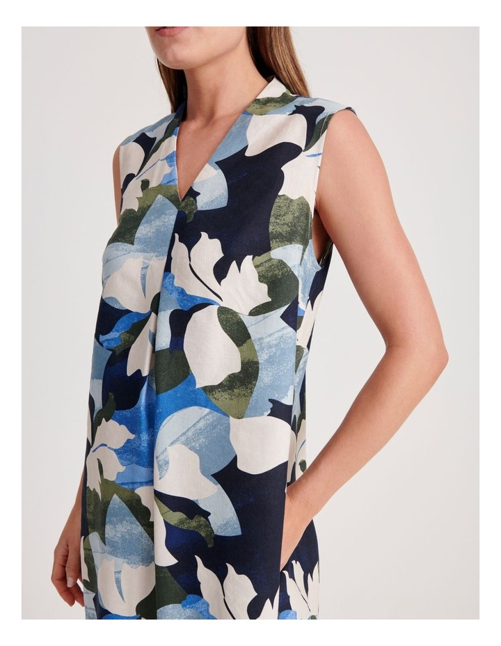 High V Neck Sleeveless Dress With Front Pleat image 4