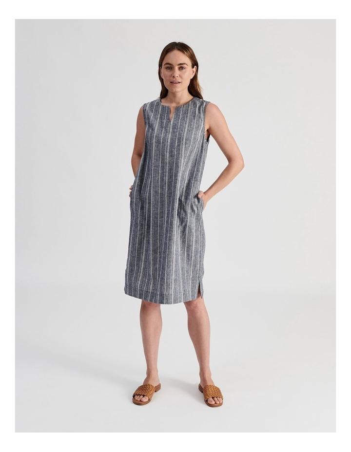 Sleeveless Split Neck Dress With Side Splits-Indigo And White Textured Stripe image 1