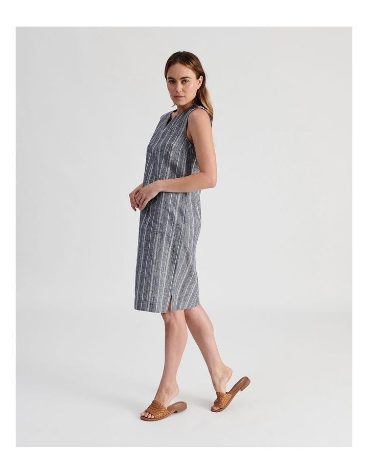 Sleeveless Split Neck Dress With Side Splits-Indigo And White Textured Stripe image 2