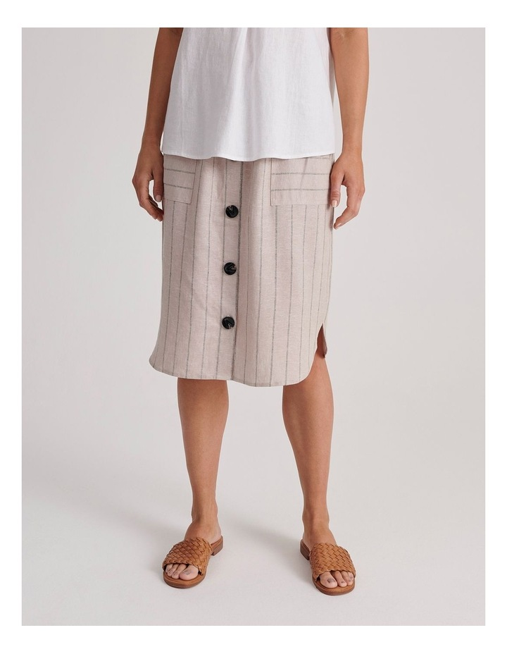 Etched Elastic Waist Skirt With Curved Hem & Button Front image 2