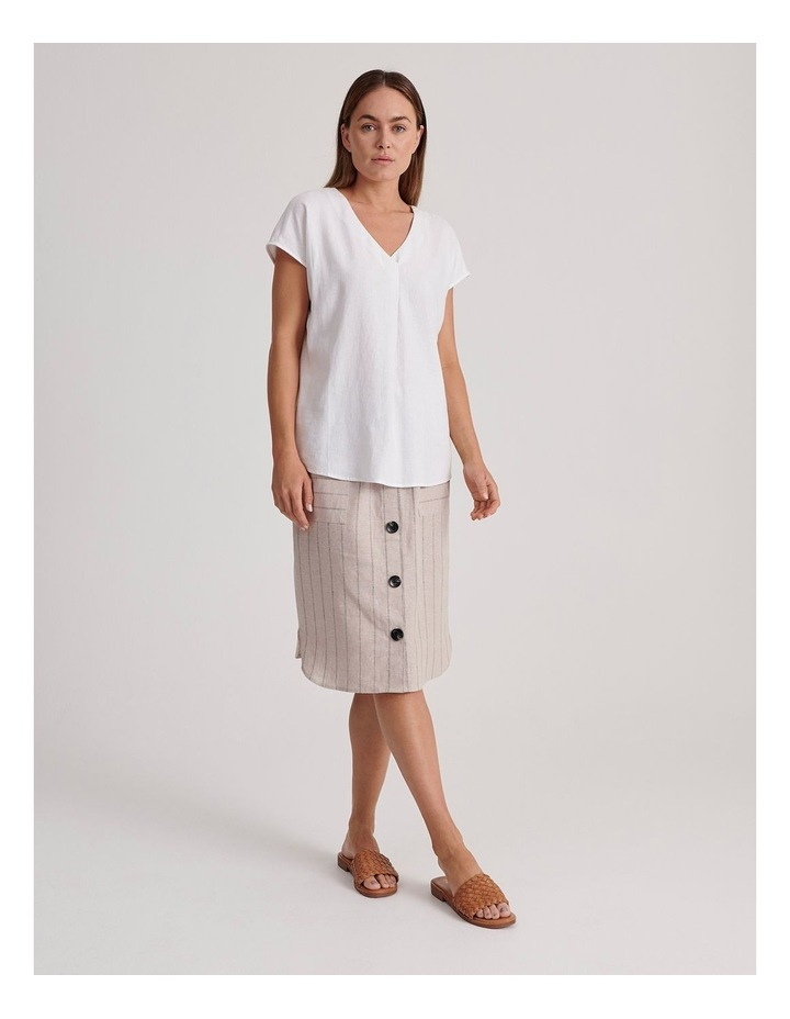 Etched Elastic Waist Skirt With Curved Hem & Button Front image 3