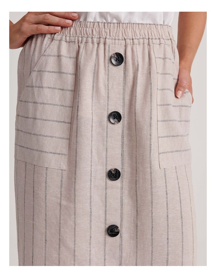 Etched Elastic Waist Skirt With Curved Hem & Button Front image 6
