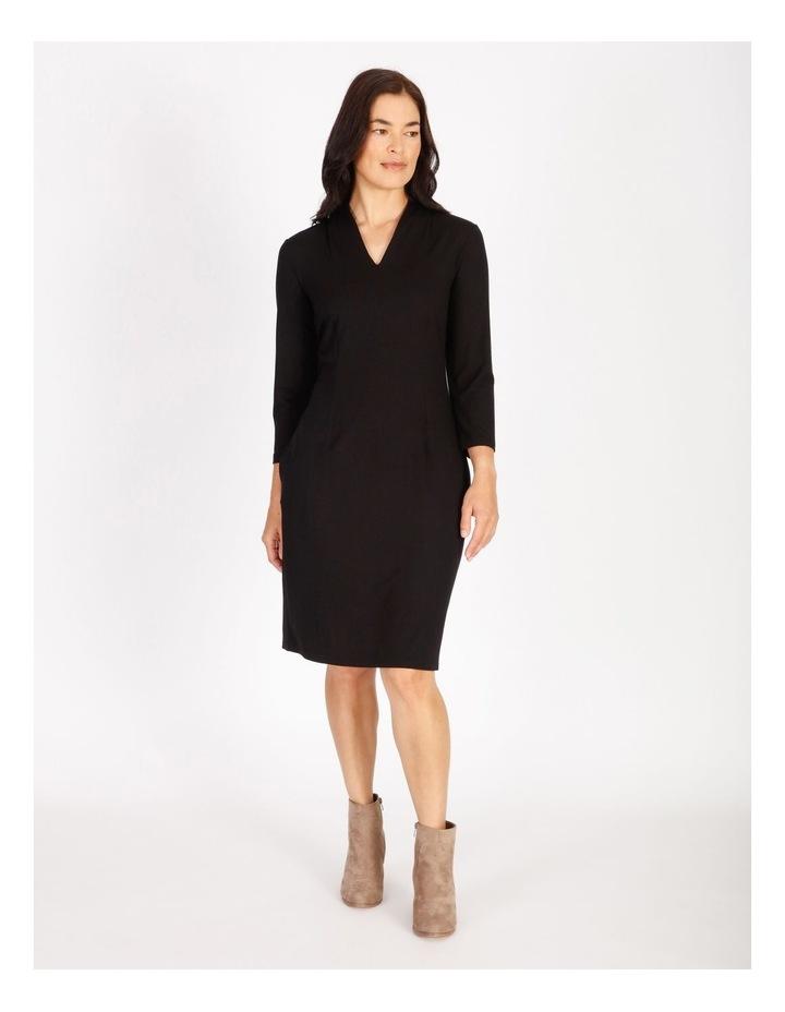 Tucked V-Neck 3/4 Sleeve Dress image 1
