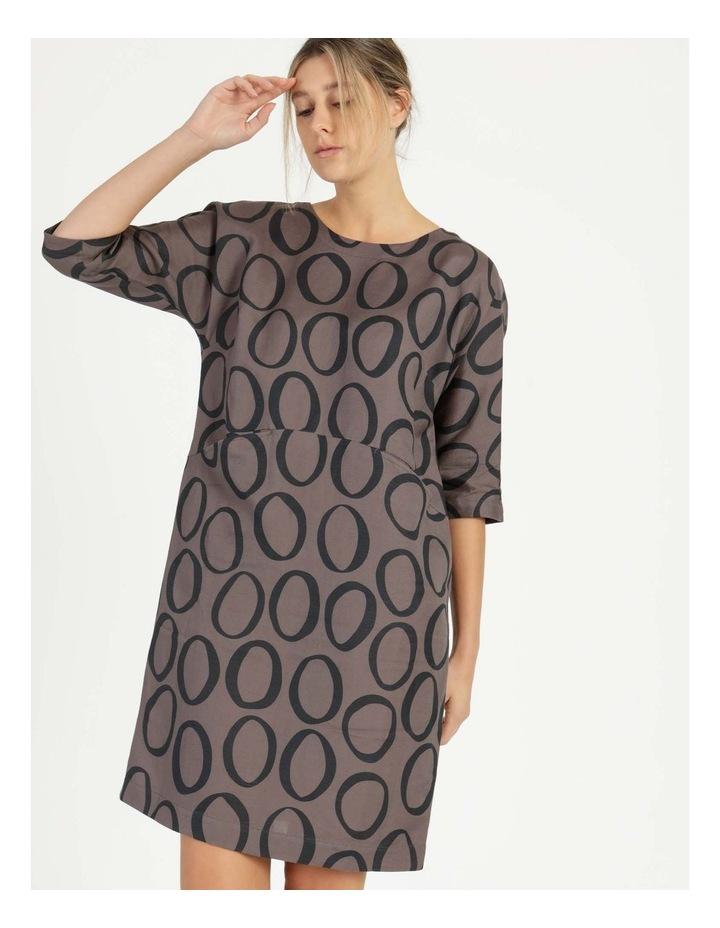 3/4 Sleeve Waist Seam Dress With Pockets image 1