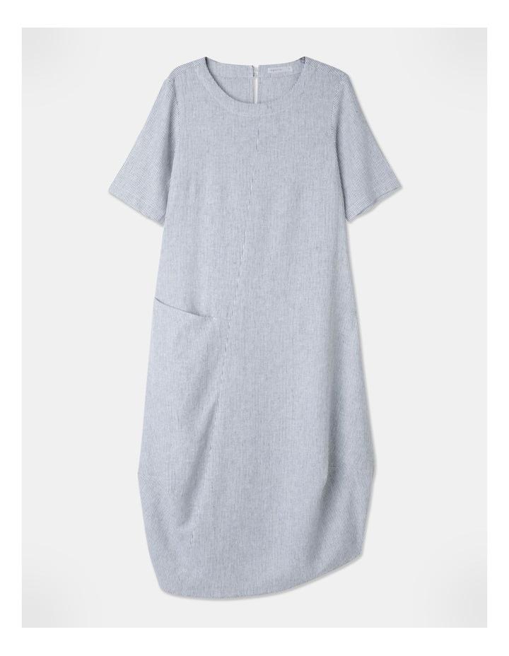 Short Sleeve Asymmetrical Pocket & Curved Hem Dress White/Indigo Stripe image 1