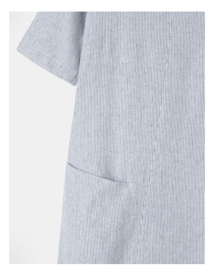 Short Sleeve Asymmetrical Pocket & Curved Hem Dress White/Indigo Stripe image 2
