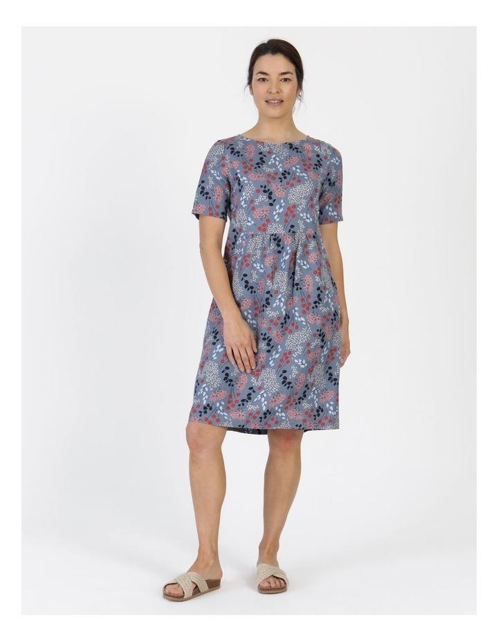 Short Sleeve Front Gathering And Pockets Dress Grey Blue Floral image 1