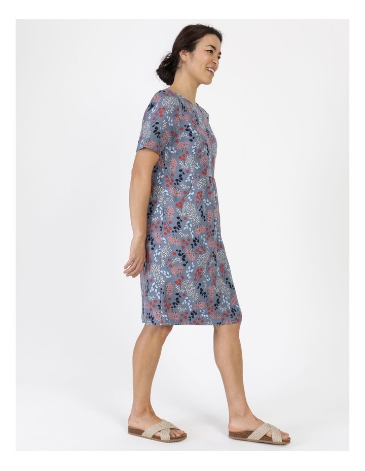 Short Sleeve Front Gathering And Pockets Dress Grey Blue Floral image 3