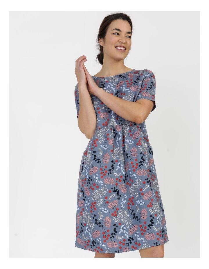 Short Sleeve Front Gathering And Pockets Dress Grey Blue Floral image 4