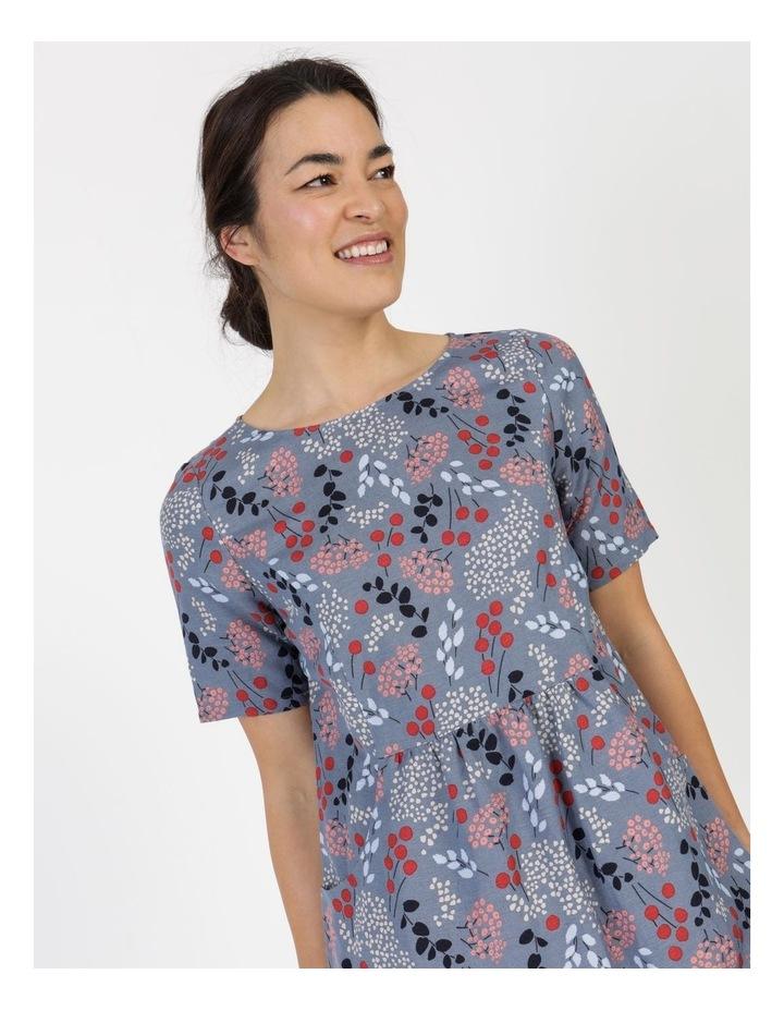 Short Sleeve Front Gathering And Pockets Dress Grey Blue Floral image 5