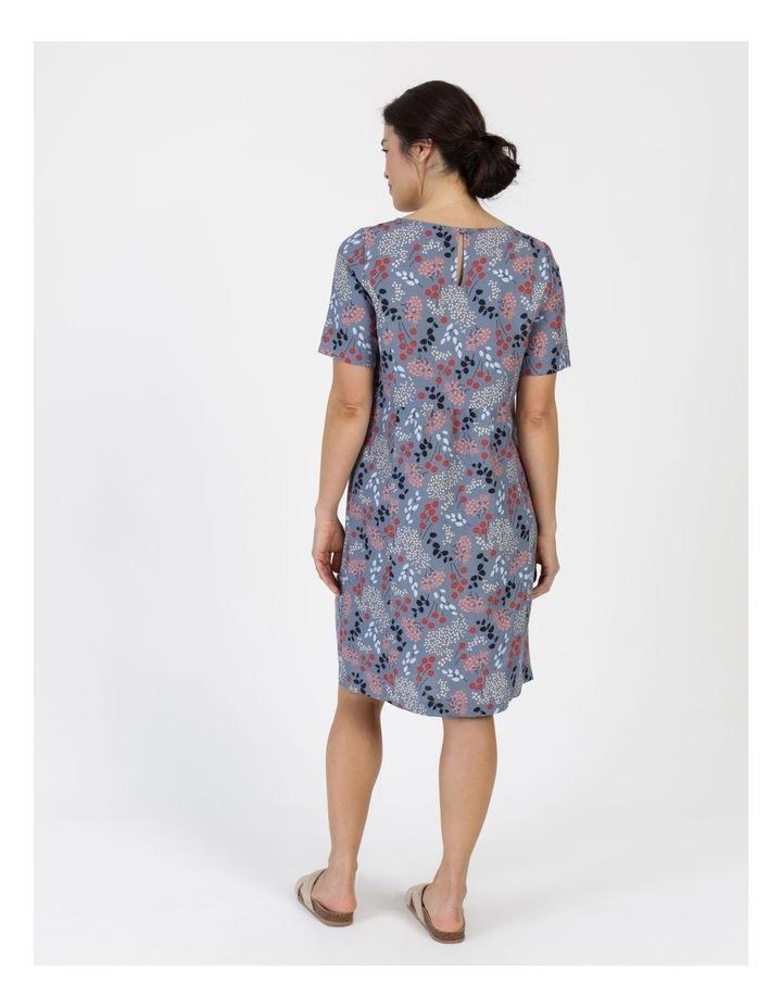 Short Sleeve Front Gathering And Pockets Dress Grey Blue Floral image 6