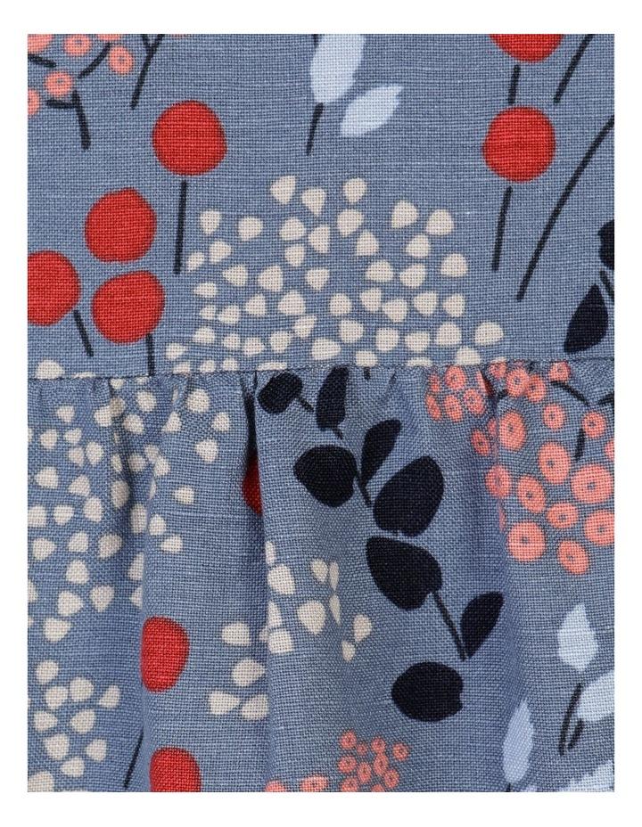 Short Sleeve Front Gathering And Pockets Dress Grey Blue Floral image 7