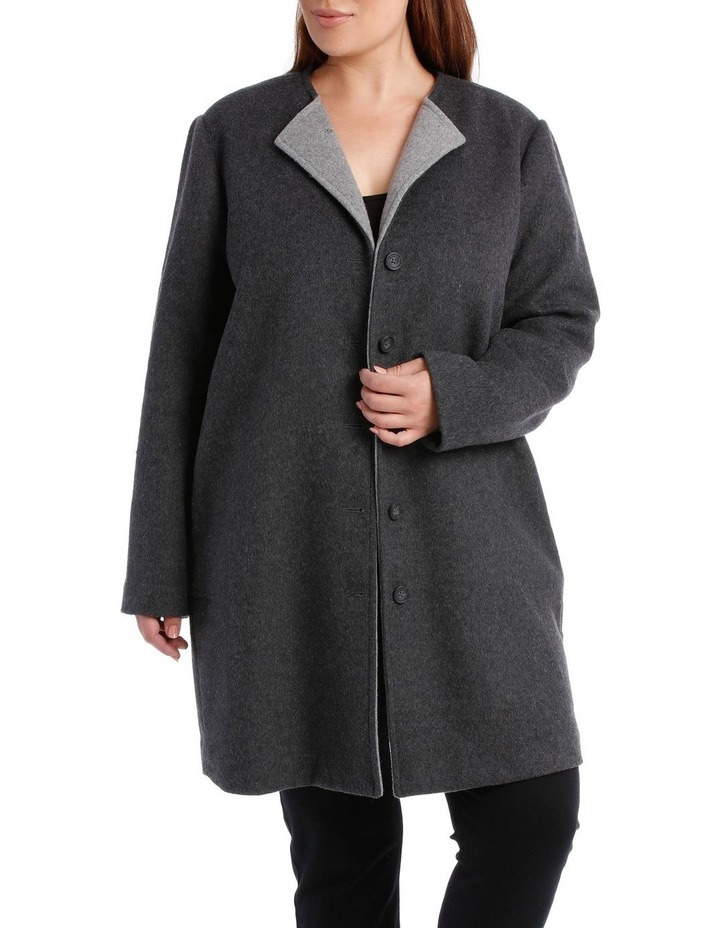 Double Faced Collarless Coat-Charcoal Marle/Grey Marle image 1