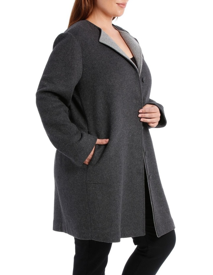Double Faced Collarless Coat-Charcoal Marle/Grey Marle image 2