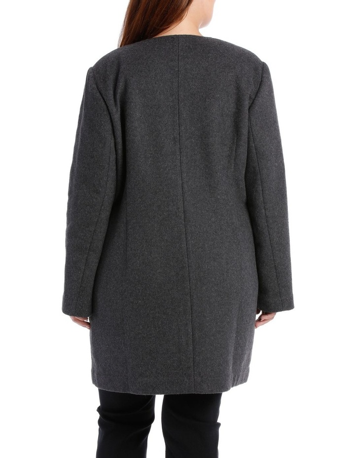 Double Faced Collarless Coat-Charcoal Marle/Grey Marle image 3
