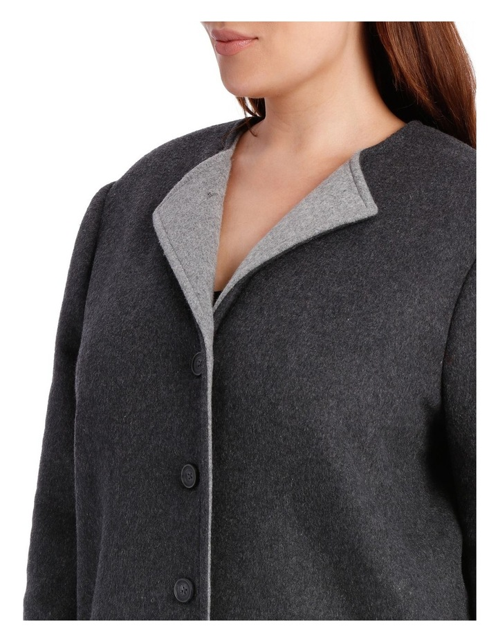 Double Faced Collarless Coat-Charcoal Marle/Grey Marle image 4