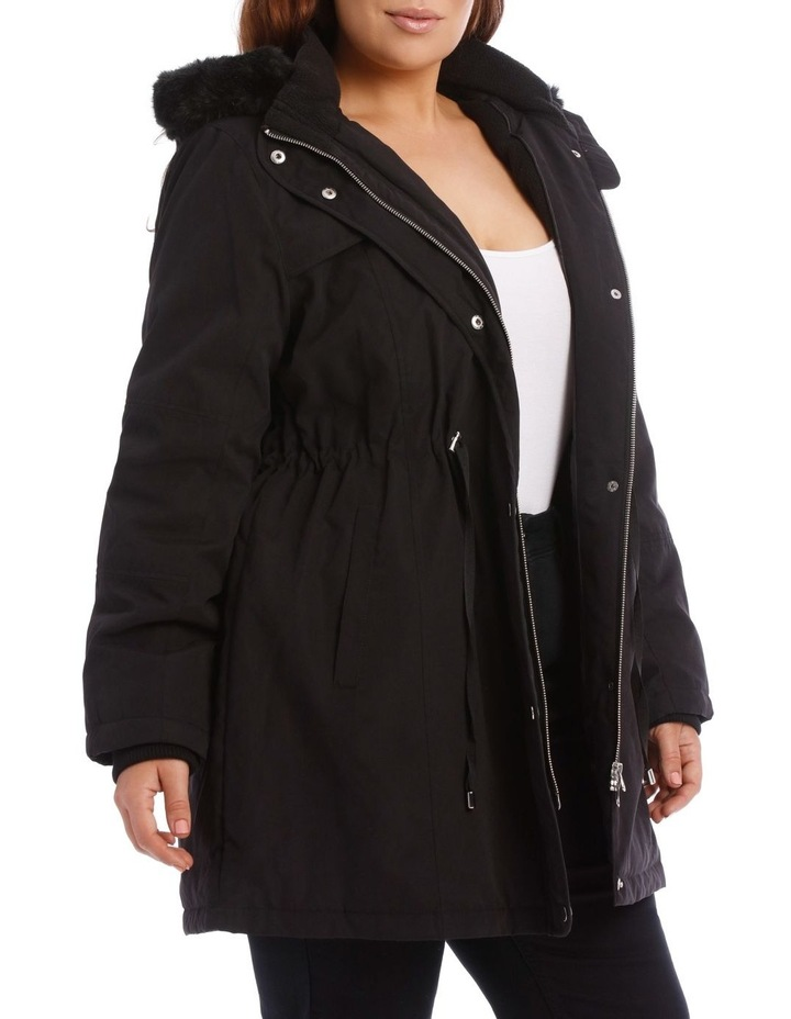 Soft Fur Trim Long Line Jacket image 2