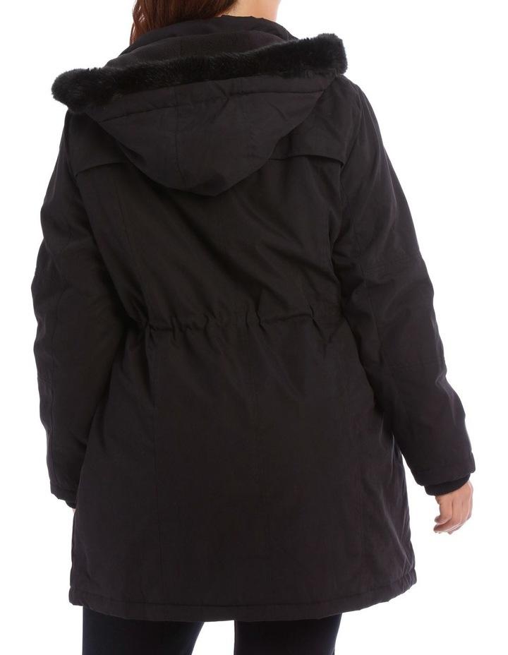 Soft Fur Trim Long Line Jacket image 3