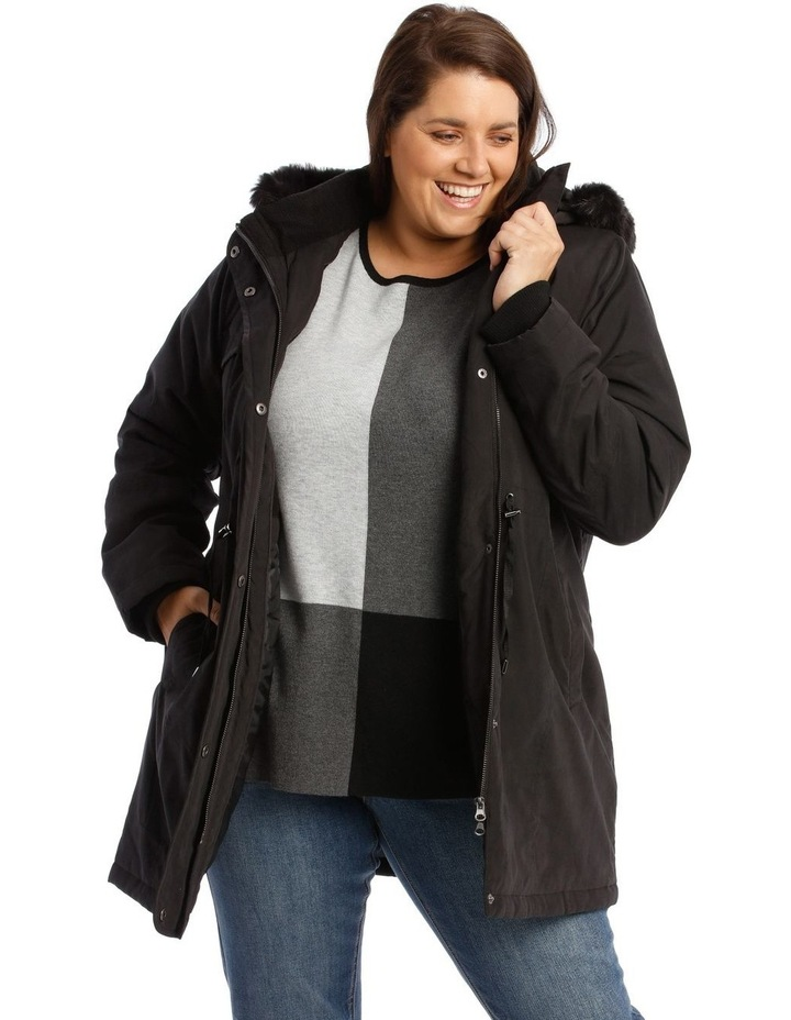 Long Line Soft Fur Trim Jacket image 1