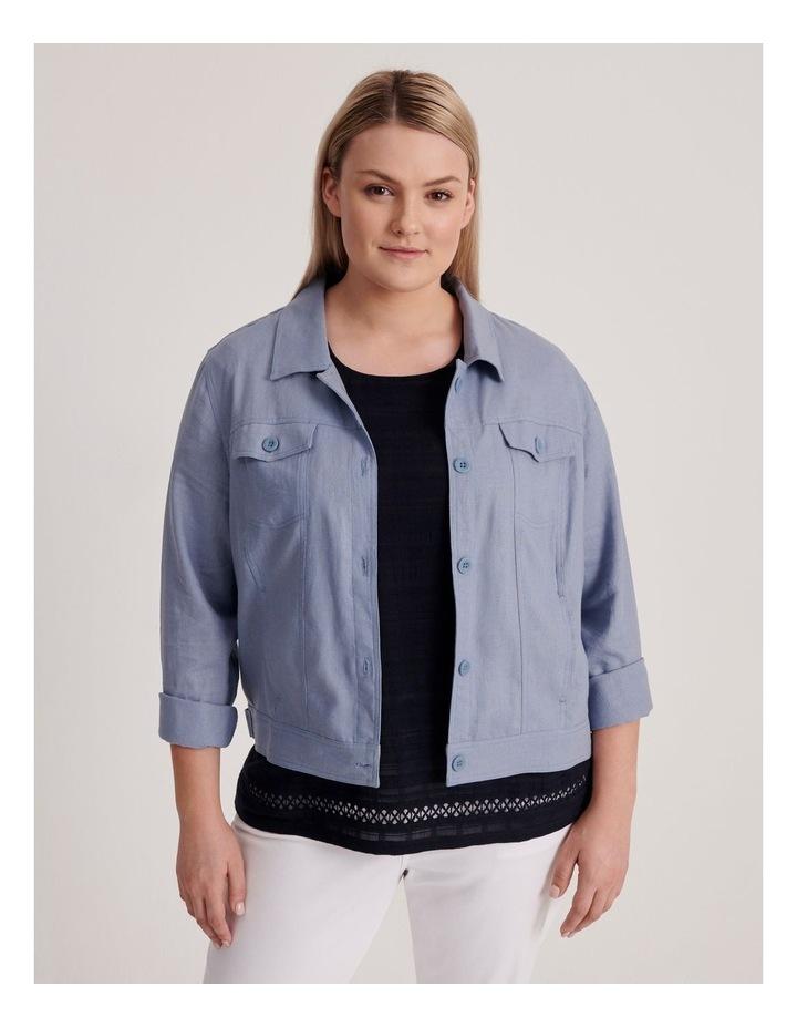 Linen Blend Jean Style Jacket-Blue Ash image 1