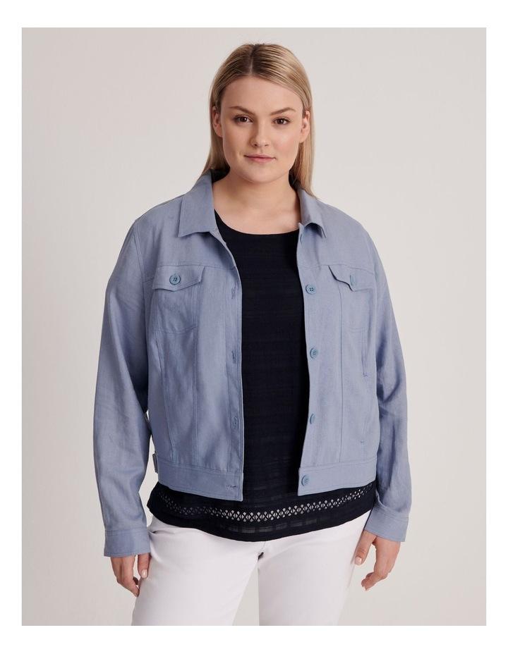 Linen Blend Jean Style Jacket-Blue Ash image 2