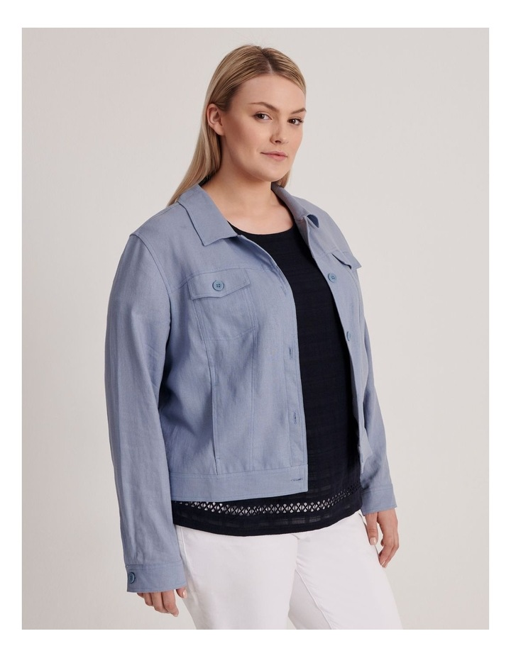 Linen Blend Jean Style Jacket-Blue Ash image 3