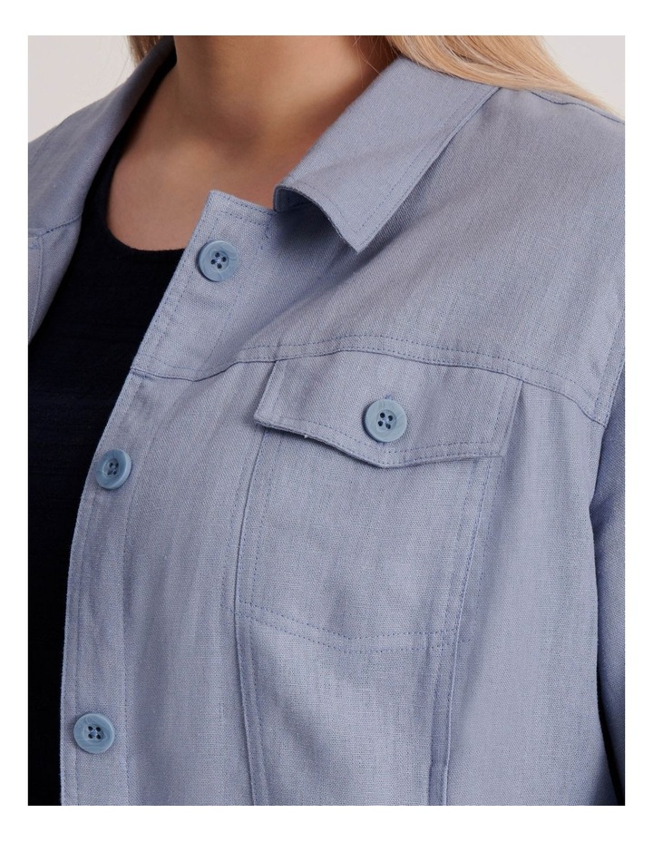 Linen Blend Jean Style Jacket-Blue Ash image 6