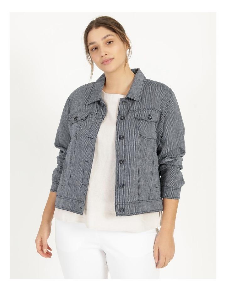 Linen Blend Jean Style Jacket Navy/White Stripe image 1
