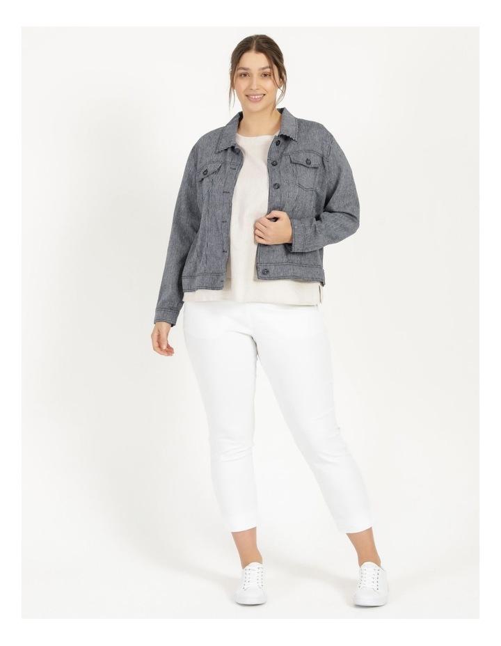 Linen Blend Jean Style Jacket Navy/White Stripe image 3