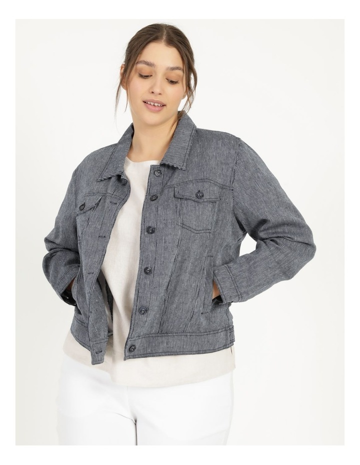 Linen Blend Jean Style Jacket Navy/White Stripe image 4
