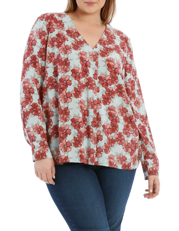 V Neck Long Sleeve Woven Top With Pleat Front image 1