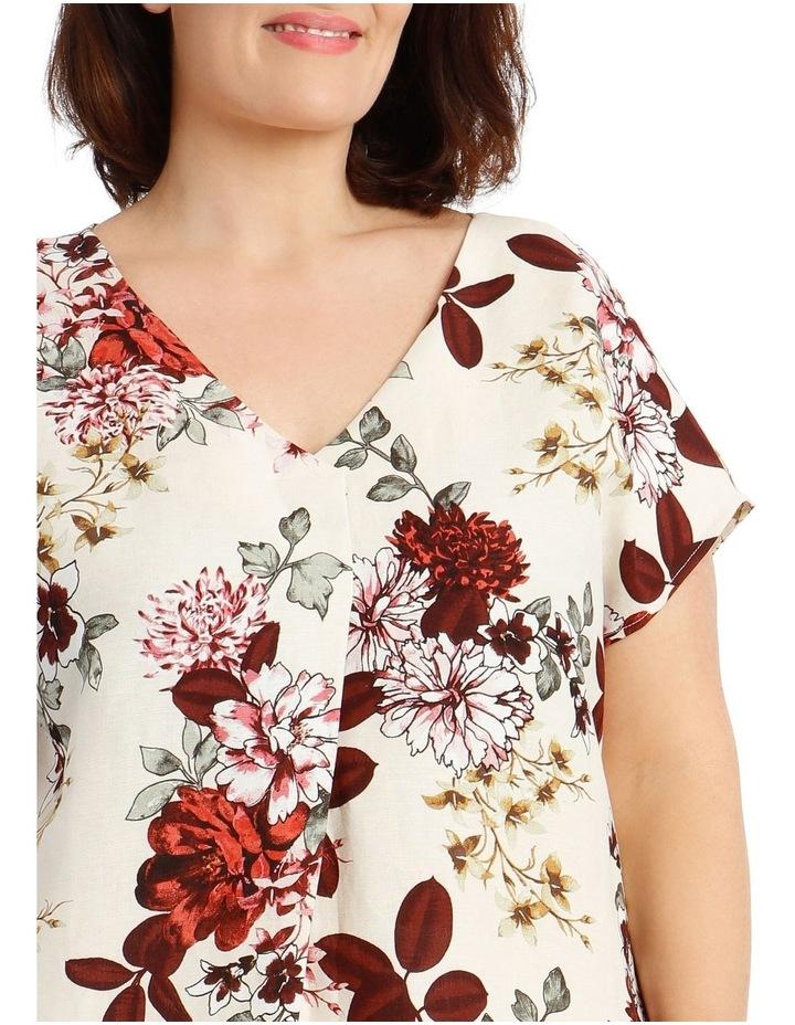 Extended Short Sleeve Linen Blend V-Neck Top image 4