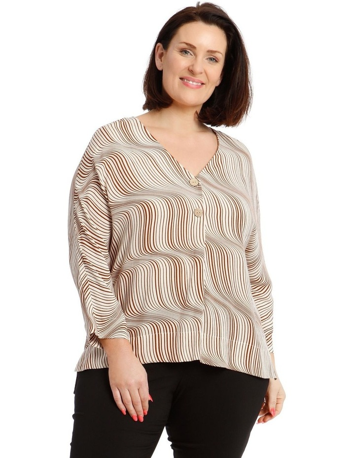 3/4 Magyar Sleeve Top With V-Neck Tuck And Buttons image 1