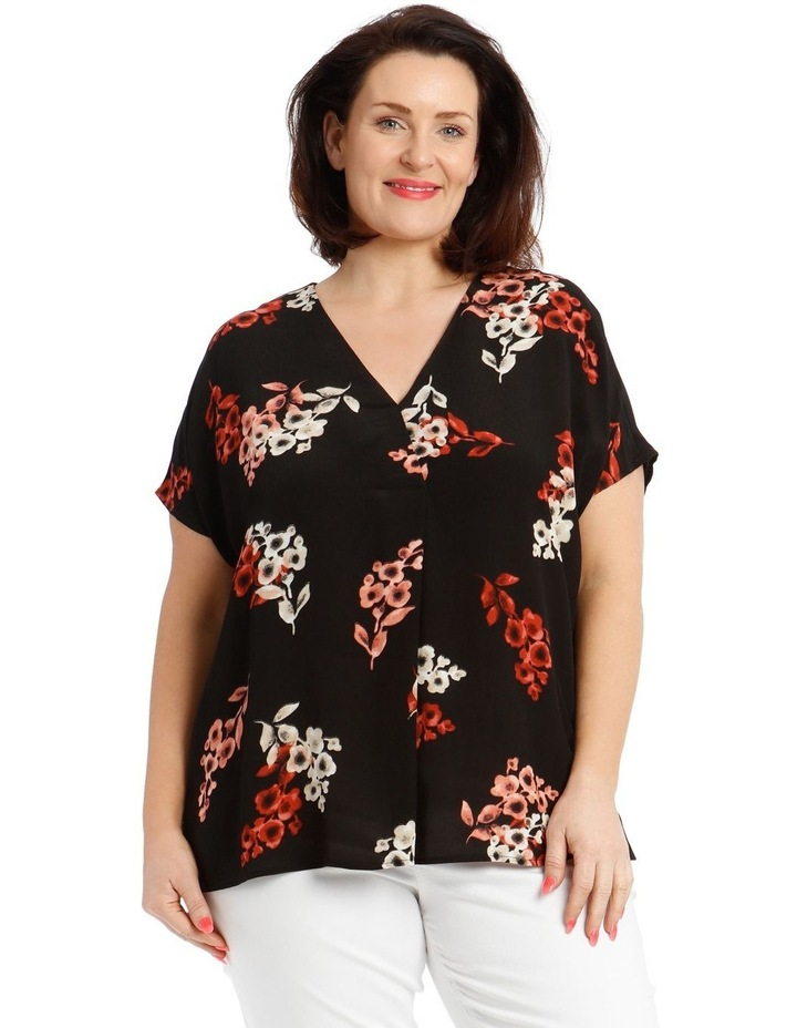 Short Sleeve V-Neck Extended Sleeve Top With Front Pleat image 1