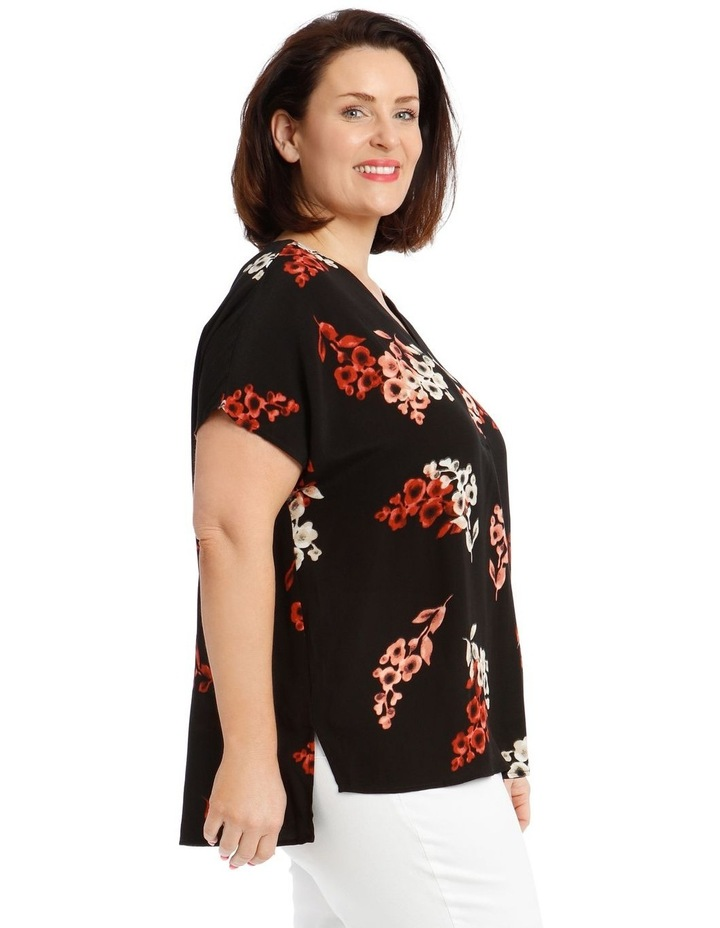 Short Sleeve V-Neck Extended Sleeve Top With Front Pleat image 2