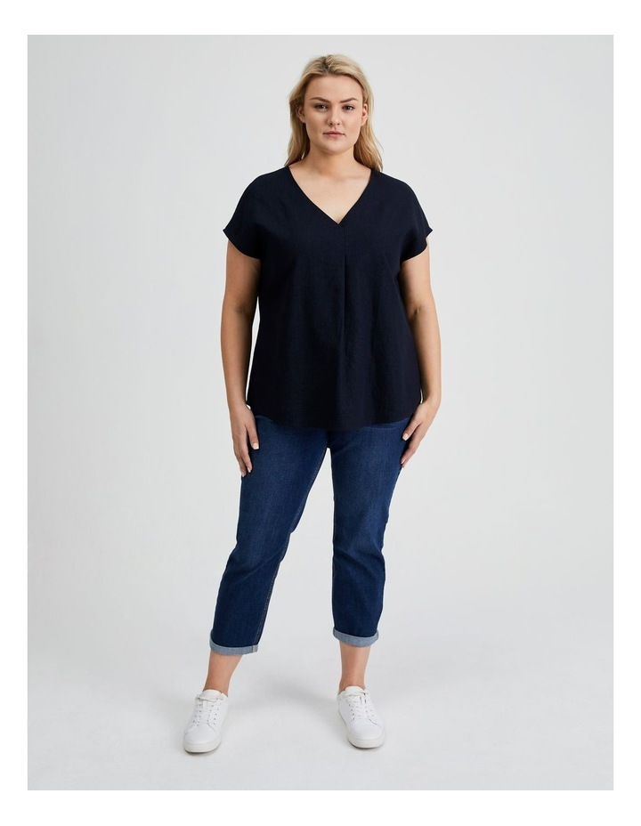 Extended Short Sleeve Front Pleat Linen Blend Top image 1